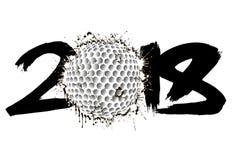 Abstract nummer 2018 en golfbal Stock Afbeelding