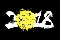 Abstract nummer 2018 en tennisbal Stock Afbeelding