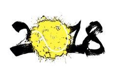 Abstract nummer 2018 en tennisbal Royalty-vrije Stock Afbeelding