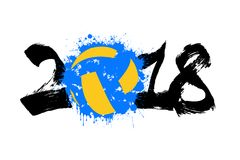 Abstract nummer 2018 en volleyball Royalty-vrije Stock Afbeelding