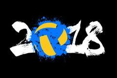 Abstract nummer 2018 en volleyball Royalty-vrije Stock Afbeeldingen