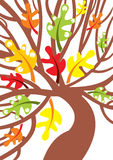 Abstract oak tree with leaves -  illustration Royalty Free Stock Images