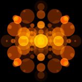Abstract object and black background. Gold circles Royalty Free Stock Photo