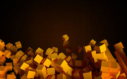 Abstract objects as falling cubes on the dark background. Royalty Free Stock Images