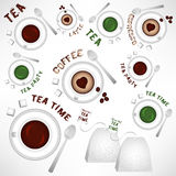 Abstract objects of cups of tea and coffee with grunge lettering Royalty Free Stock Photos