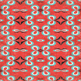 Abstract objects on a red background in retro style grunge effect seamless pattern. (vector eps 10 Stock Images