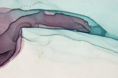 Abstract oceaanart. Natuurlijke Luxe De stijl neemt de wervelingen van marmer of de rimpelingen van agaat op Zeer mooie rode verf stock fotografie