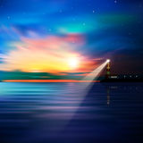 Abstract ocean background with lighthouse. Abstract blue background with lighthouse stars and sunrise Royalty Free Stock Photos