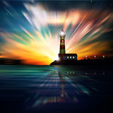 Abstract ocean background with lighthouse. Abstract dark background with sunrise and lighthouse Stock Photography