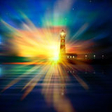 Abstract ocean background with lighthouse. Abstract nature background with lighthouse stars and sunrise Royalty Free Stock Image