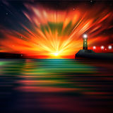 Abstract ocean background with lighthouse. Abstract ocean background with red sunrise and lighthouse vector illustration