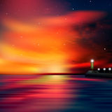 Abstract ocean background with lighthouse. Abstract sea background with red sunrise and lighthouse Stock Photography