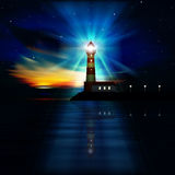 Abstract ocean background with lighthouse. Abstract background with lighthouse stars and sunrise Stock Photos