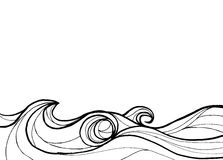 Abstract ocean in line art black and white background Royalty Free Stock Image