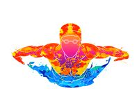 Free Abstract Of A Swimmer Butterfly From Splash Of Watercolors Stock Photo - 136509490
