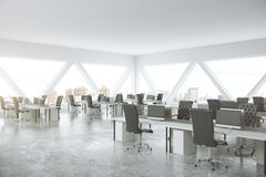 Abstract office. Abstract coworking office interior with patterned windows and city view. 3D Rendering Royalty Free Stock Photo