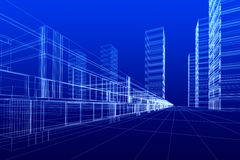 Abstract offices. 3D rendering of office buildings on blue background. Concept - modern city and modern architecture Stock Image