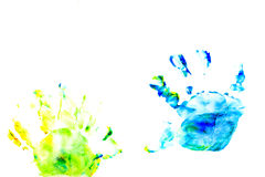 Abstract oil color. Prints of children's handprints. Royalty Free Stock Photography