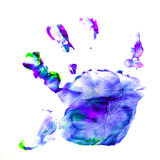 Abstract oil color. Prints of children's handprints. Abstract oil paint. Prints of children's palms. Paint brush strokes on canvas closeup. Colorful range of Stock Image