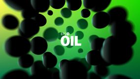 Abstract oil illustration. 3d vector background. Black rubber spheres Royalty Free Stock Photos