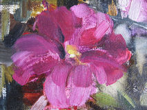 Abstract oil paint texture on canvas. Illustration for your design. Image petunias. Stock Image