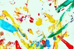 Abstract oil paint texture on white canvas, colorful abstract background royalty free stock images