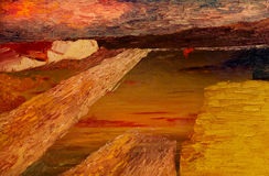 Abstract Oil painting. Beautiful Image of a Original Abstract Seascape Oil On Canvas stock image