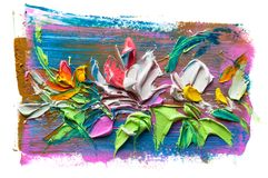 Abstract oil painting of  flower. Stock Photos