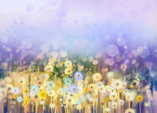 Abstract oil painting flowers plant. Dandelion flower in fields. Meadow landscape with wildflower. Purple,Blue sky color with bokeh. Hand Paint floral royalty free illustration