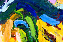 Abstract oil painting fragment. Oil on canvas. fragment of my painting. abstract background. focus on brushstrokes Stock Images