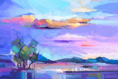 Free Abstract Oil Painting Landscape Background. Royalty Free Stock Images - 81375159