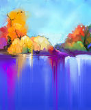 Abstract oil painting landscape background. Stock Photos