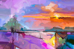 Abstract oil painting  landscape background. Royalty Free Stock Photography