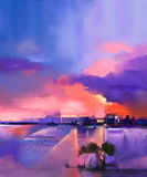 Abstract oil painting landscape Royalty Free Stock Photo