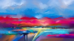 Abstract colorful oil painting on canvas. Semi- abstract image of landscape paintings background. Abstract oil painting landscape. Colorful blue purple sky. Oil stock illustration