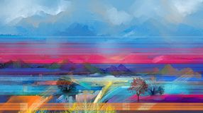 Semi abstract tree ,field, meadow. Abstraction Landscape nature. Abstract oil painting landscape. Colorful blue purple sky. Oil painting outdoor on canvas. Semi royalty free illustration