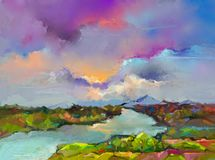 Abstract oil painting landscape. Abstraction Landscape nature, contemporary art for background. Abstract oil painting landscape. Colorful blue purple sky. Oil vector illustration
