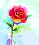 Abstract oil painting of spring flower. Still life of red rose Vector Illustration