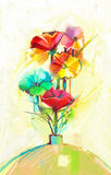Abstract oil painting of spring flower. Still life of yellow, green and red gerbera and poppy. Colorful bouquet flowers in vase with light color background Royalty Free Stock Photos