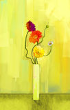 Abstract oil painting of spring flower. Still life of yellow, pink and red gerbera. stock illustration