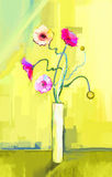 Abstract oil painting of spring flower. Still life of yellow, pink and red gerbera. Stock Images
