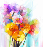 Abstract oil painting of spring flower. Still life of yellow, pink and red gerbera. Royalty Free Stock Photos