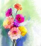 Abstract oil painting of spring flower. Still life of yellow, pink and red gerbera. Colorful Bouquet flowers with light green-blue color background. Hand Royalty Free Stock Image