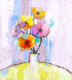 Abstract oil painting of spring flower. Still life of yellow, pink and red gerbera. Colorful Bouquet flowers in vase with light blue color background. Hand Royalty Free Stock Images