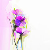 Abstract oil painting of spring flowers Stock Photo