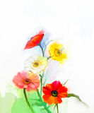 Abstract oil painting of spring flowers. Still life of yellow and red gerbera flower Stock Photos