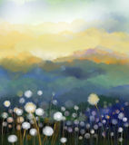 Abstract oil painting white flowers field in soft color vector illustration