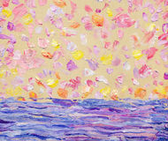 Abstract oil seascape. Romantic sunset over sea Stock Images
