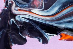 Abstract of oil, water and acrylic painting. Art painting using coloured nail polish royalty free stock image