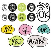 Abstract OK okay hand symbol vector and hand written yes, no, maybe, ok signs in speech bubbles. royalty free illustration